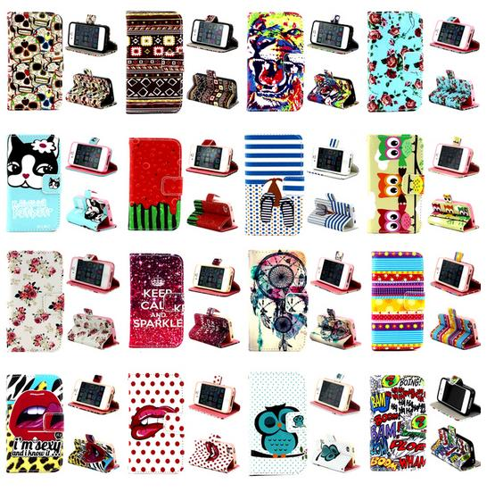 Flowers TPU+PU Leathe Flip Wallet Case Cover for iPhone 4S/4