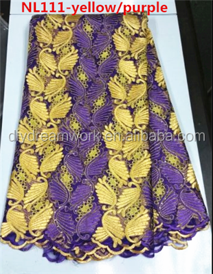 Hot selling gold and purple embroidery tulel lace fabric african french net lace fabric for dress