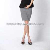 Cotton/spandex ladies formal skirt and blouse photos of wholesale fitness clothing with black and white stripe suits