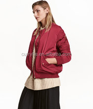 Shao hong OEM high quality thread collar zip up pockets long sleeve red women bomber jacket