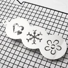OEM Cheap 3 in 1 stainless steel coffee stencil cupcake cookie stencils as seen on tv