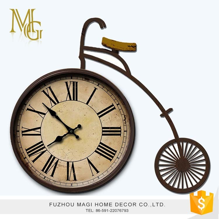High quality retro aged antique metal desktop table clock