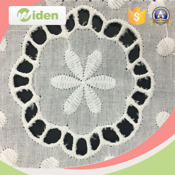 100% White Cotton Eyelet Embroidery Fabric