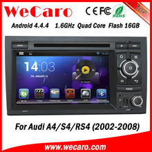 Wecaro Android 4.4.4 double din mutimedia car stereo for audi a4 dvd gps navigation radio tv bluetooth ipod 2002-2008