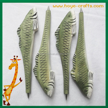 real wood carved animal pen fish shape