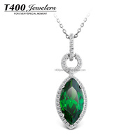 T400 Elegant Green Pendant Necklace 925 Sterling Silver and AAA Zirconia Fashion Jewelry #10668 Life Goddess
