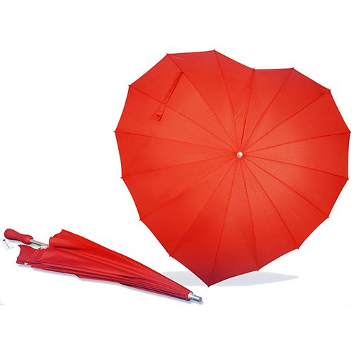 Chinese supplier quality products Red Heart Shape Straight Fiberglass Umbrella