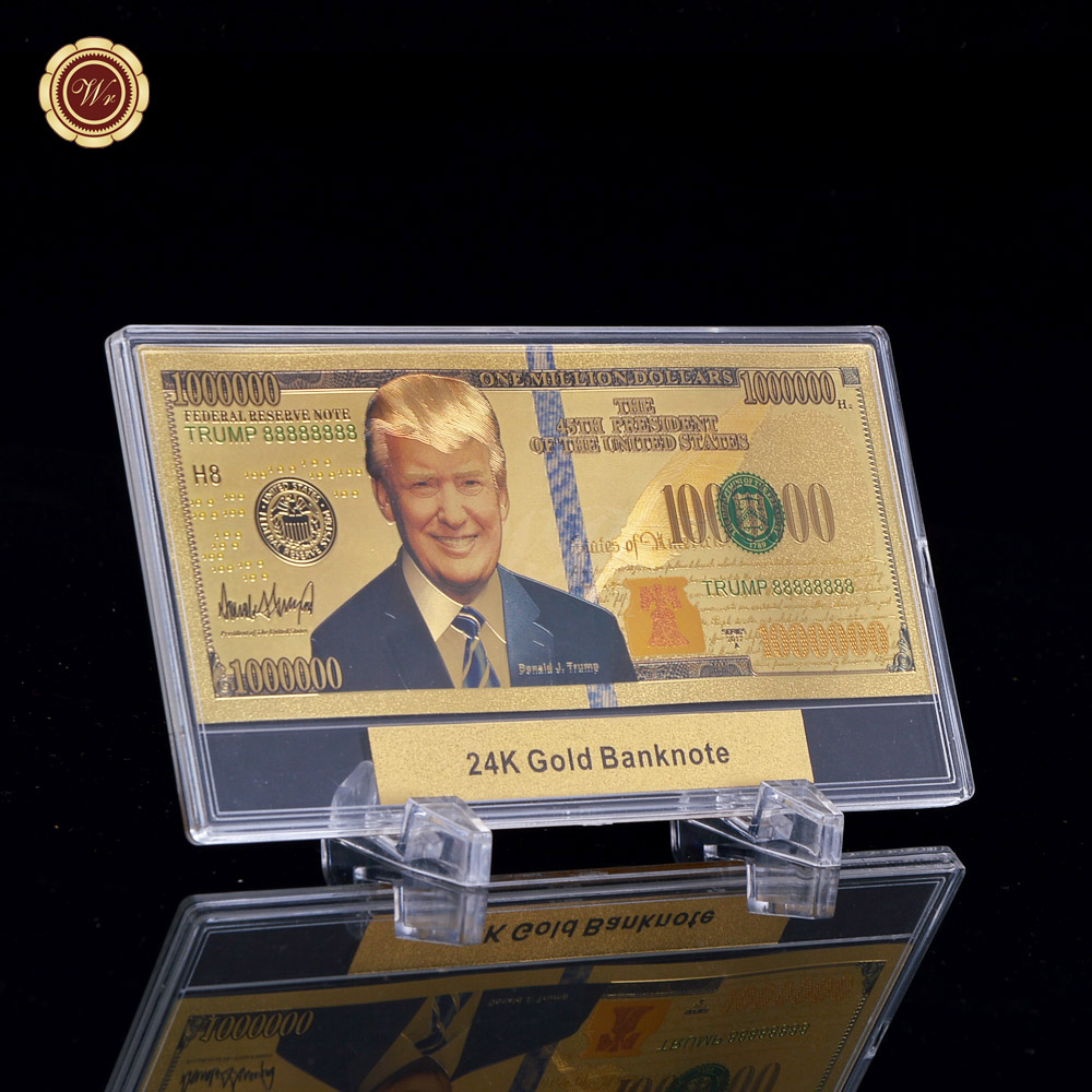 The 45th President of <strong>U</strong>.S. Donald J.Trump <strong>100</strong> Dollar Bill Gold Banknote 24K Souvenir Gift