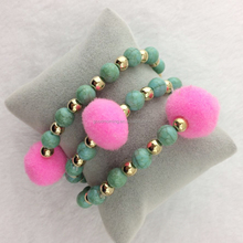 Pom Pom Turquoise Beads Stretch Bracelet Sets