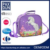 new arrival leak-proof cartoon horse purple school shoulder lunch bags for kids