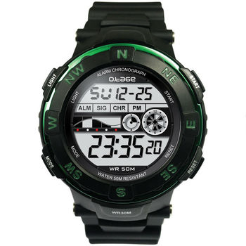 Rotating Bezel Waterproof Black Digital Wrist Watch Big Case