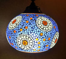 Ethnic Handmade Decorative Hanging Lamp Glass Ceiling Light Pendant Blue Hot Sale