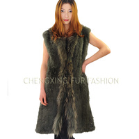 CX-G-B-29 New Style Rabbit & Raccoon Fur Knitted Women Rabbit Fur Vest