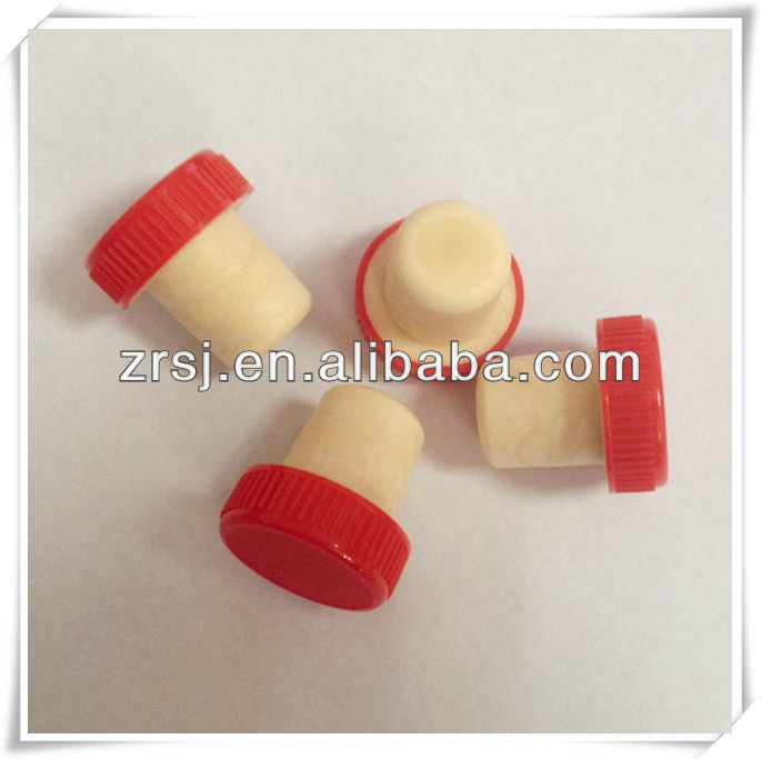 Red vodka bottle Plastic cap Synthetic cork