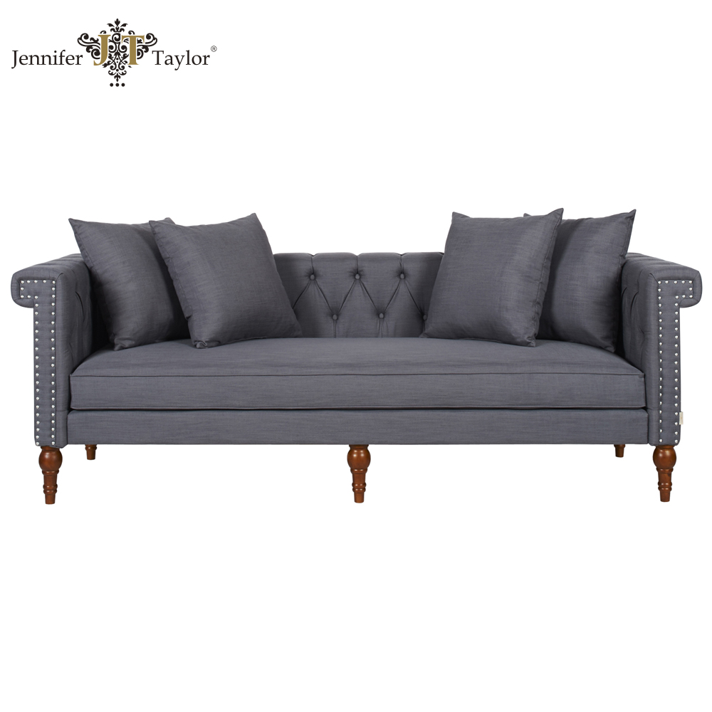 Home furniture fabric chesterfield sofa/factory manufacture tufting nailhead trimmed grey 3 seater sofa