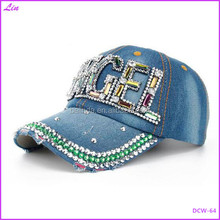 New Colorful Bling ANGEL Diamante Jean Denim Baseball Cap Men Adjustable Snapback Caps Women Casual Outdoor