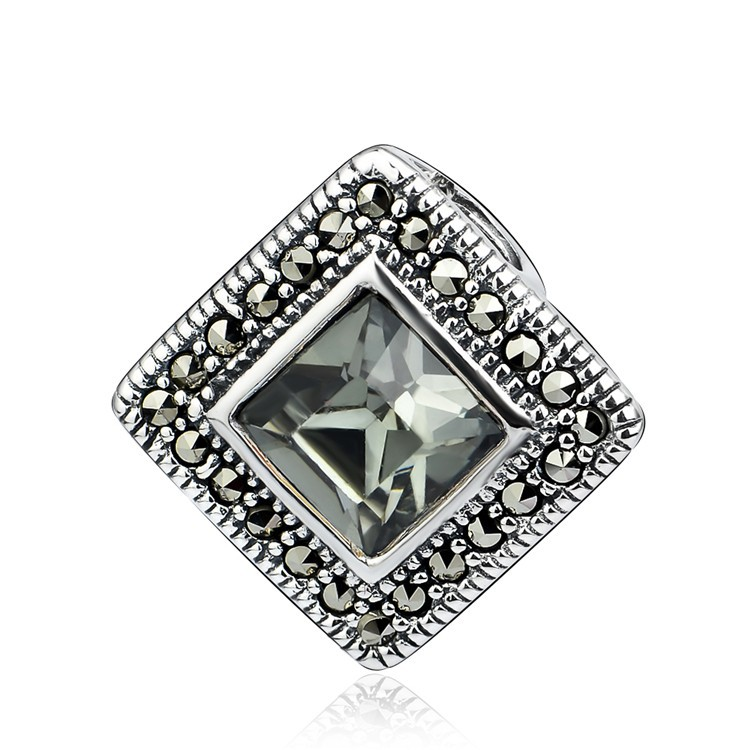 Sterling Silver Square Cut CZ Charm Pendant For Necklace