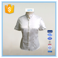 New Design Stand Collar Short Sleeve White Shirt For Women
