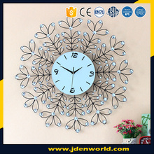 Large size cheap price high quality sun shape metal wall clock with diamond for sale