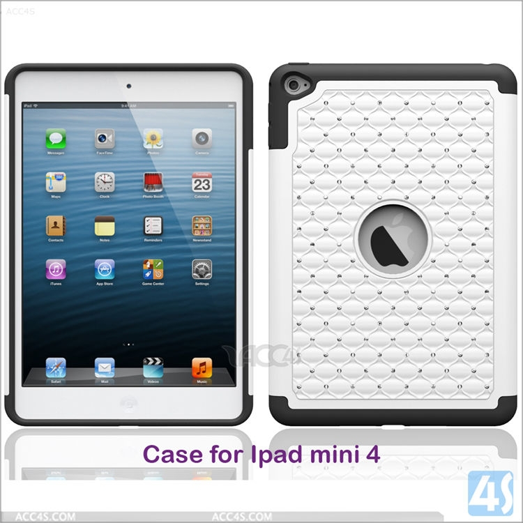 Crystal Diamond Soft Silicon Hard PC Case For IPad Mini 4