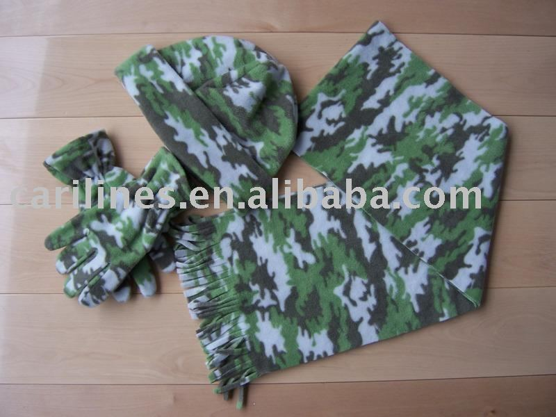 wind proof and warm polar fleece scarf hat glove sets for military use