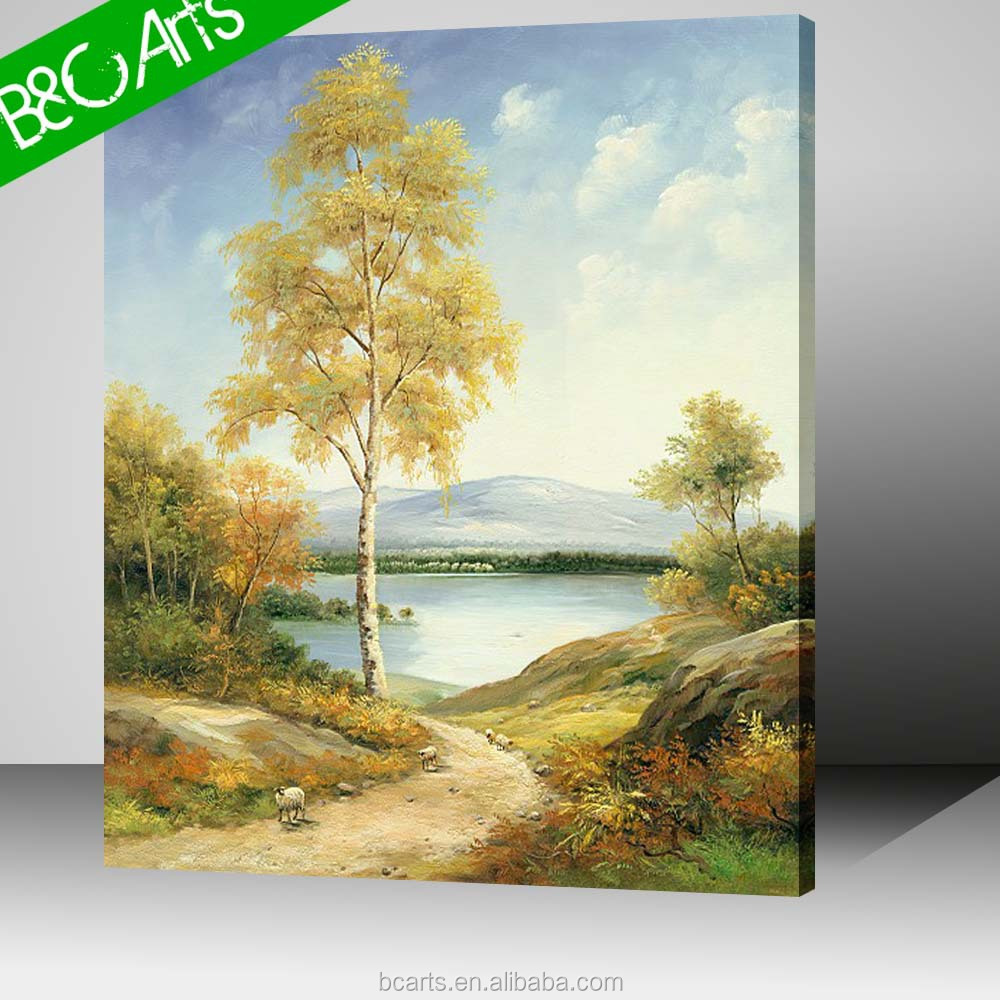 Hot sale yellow tree landscape decorative stretched wall pictures canvas printings
