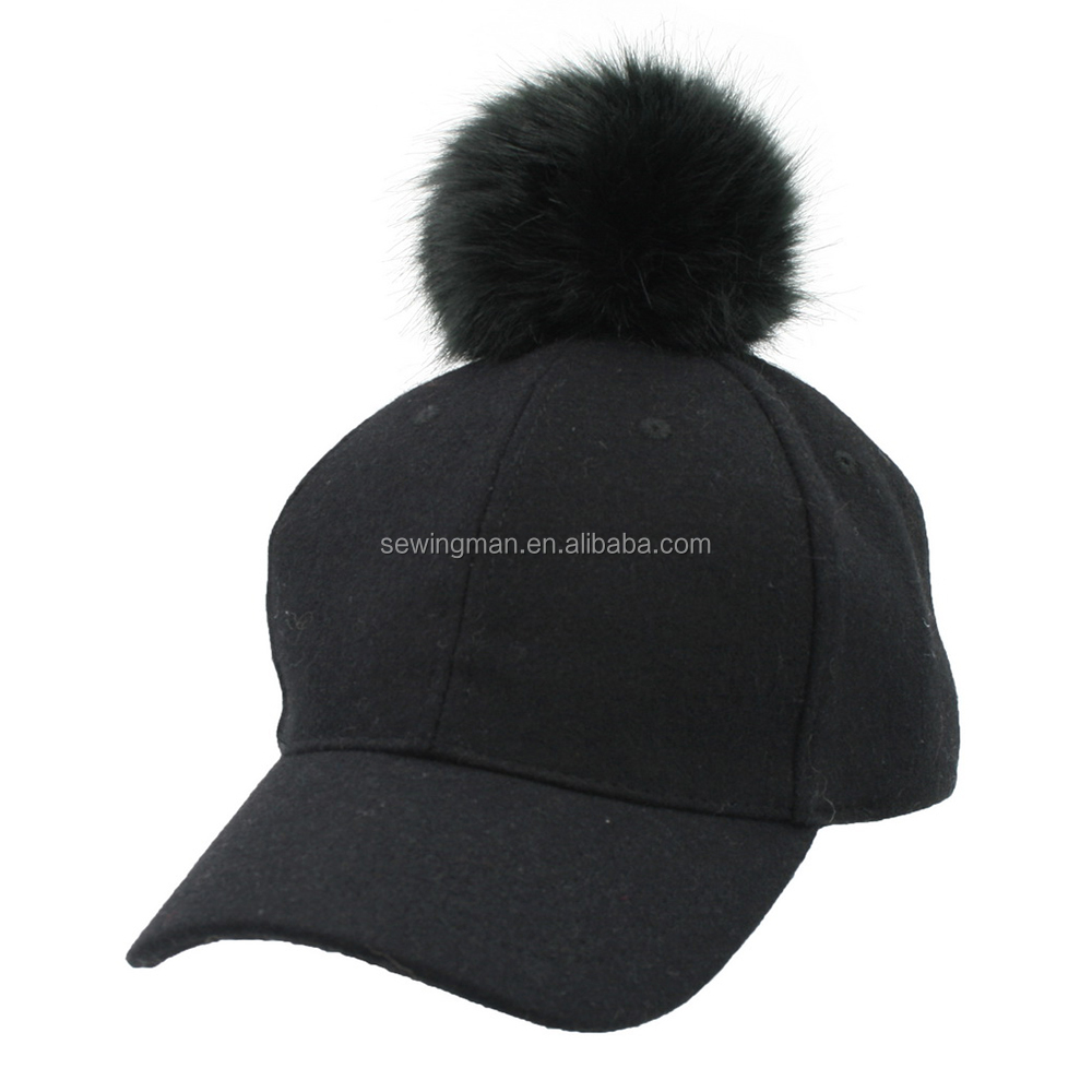 Melton cloth baseball cap with big fake fur ball on top