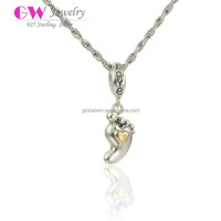 Lovely Small Foot With 18k Gold Silver Bead Necklace Silver Beads For Jewelry Making