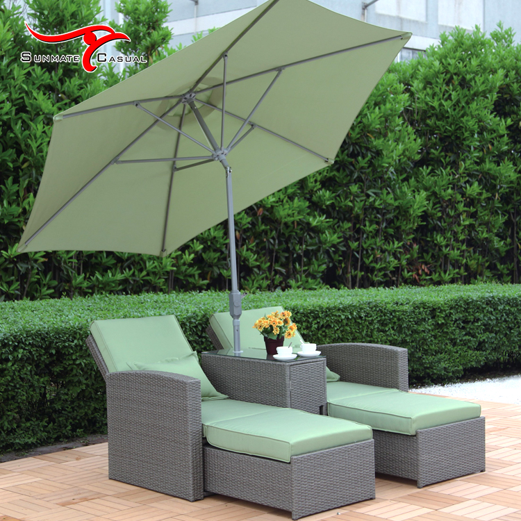 2 in 1 Folding Garden Patio Lounge Recliner Wicker Rattan Outdoor Sofa Bed