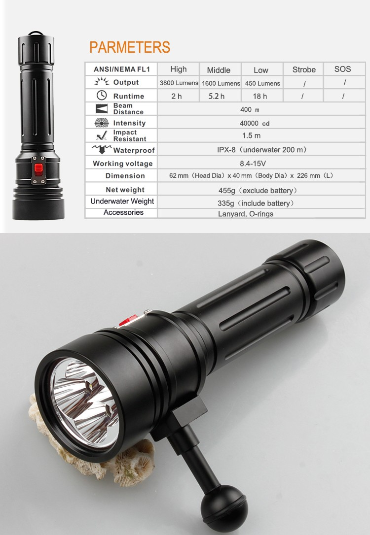 Brinyte DIV15 High Power 3800 Lumens Magnetic Switch Professional Diving Flashlight