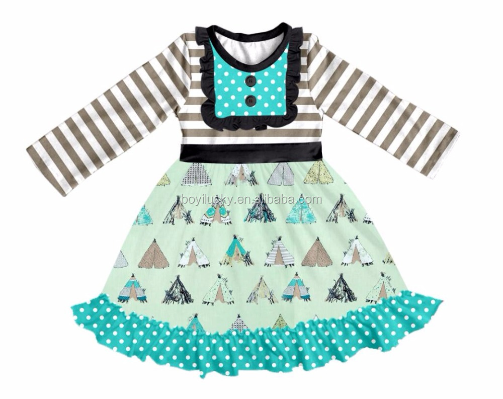 new style children stripe frocks designs boutique baby cute tent print dress cutting