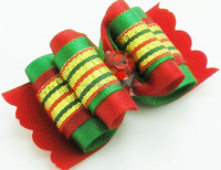 New arrival christmas pet hair accessories dogs/cats colorful bow hair clips for Xmas