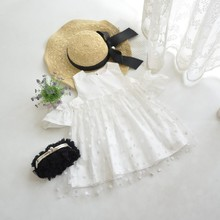 B10709A little girl strapless fashion dress girl's summer white lace dresses