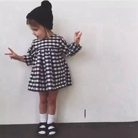ShiJ Kids Clothes Autumn Black Grid Long Sleeve Casual Girls Dress