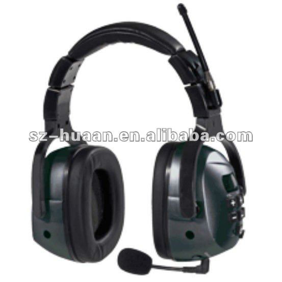 ear muff with radio and headphones