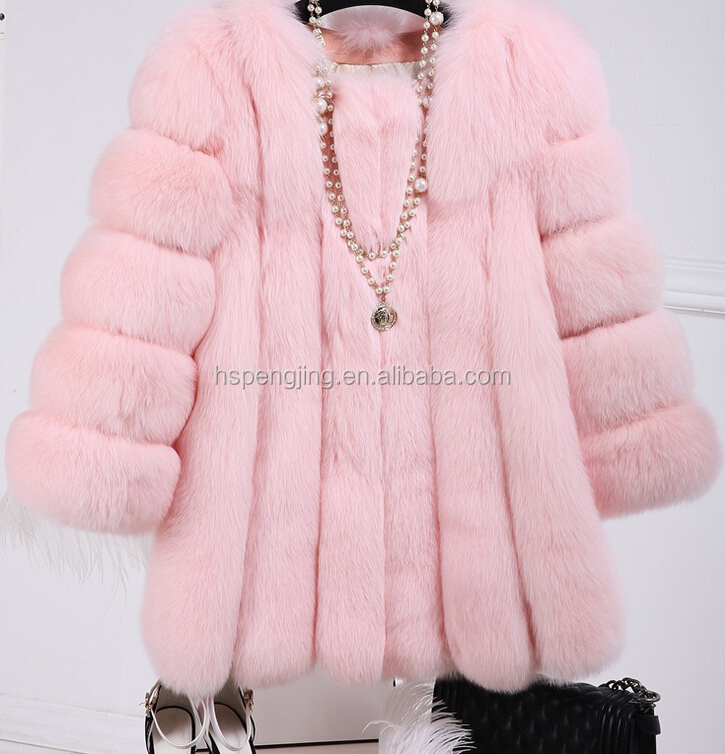 pink fox faux fur coat, kids girls fox fur coats pink