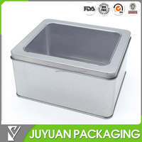 Gift or cake packaging clear lid tin/ tin can with clear lids wholesale