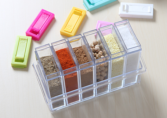 PP material small size Condiment Caddy six-in-one,plastic storage box