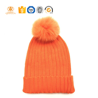 Custom Acrylic Winter Plain Bulk Woman Knitted Hats With Ball On Top
