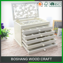 White Multifunction Solid Wood Cheap Jewelry Packing Box