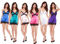 Women Gender and Spandex / Cotton Material sheer babydoll satin dress lingerie