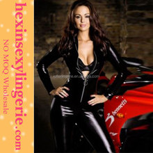 Full body black pvc zip real women leather corsets
