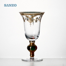 Low price 1oz handmade wine tasting glass cup with gold rim