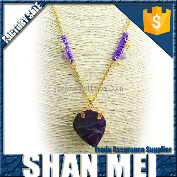 Big Amthyst Pendant Purple Rope knitted Necklace