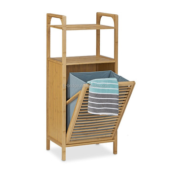 Bathroom shelf folding bamboo laundry basket storage 2 floors accessories shower towels furniture, nature