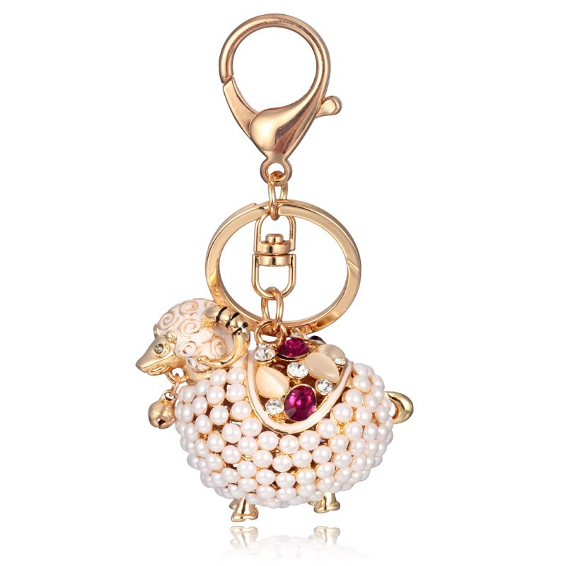 Hot sale animal sheep keychains gold metal pearl keychain