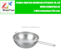 Manufacturer Stainless steel plate puching hole basket colander with long handle