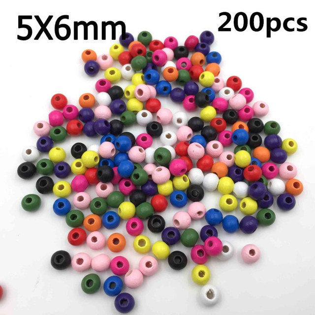 100Pcs/Pack 7mm-23mm Assorted Mixed Pattern Wooden Round Bead Loose Spacer For Charm Bracelet Wholesale