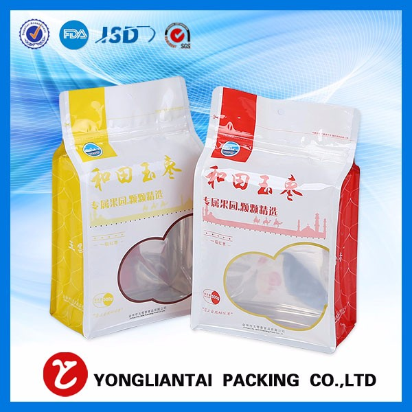 aluminum foil falt bottom packaging plastic bag quad seal flat bottom with ziplock for protein powder