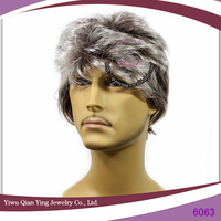 short braided Grey synthetic men wigs for sale